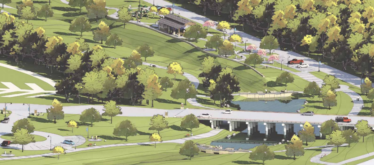 Escondido Creek Parkway rendering of 181 and Detention Pond